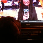 Chica the beautiful Chocolate Lab watching Pacers Live Pre-Game.