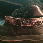I needed a pair of black on black high-top Air Force 1s in my rotation, but I wanted to add a feminine element.  These are custom made with black and cream lace detail on the velcro straps.