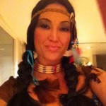 I simply had to wear brown to be Pocahontas for this LA Halloween party.